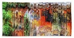 Colorful Street Cafe Beach Towel