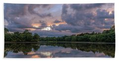 Beach Towel featuring the photograph Colorful Sunset At The Lake by Lori Coleman