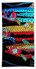 Colorful Swimming Trout Beach Towel by Scott D Van Osdol
