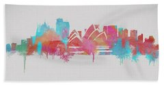 Colorful Sydney Skyline Silhouette Beach Towel