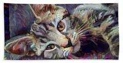 Colorful Tabby Kitten Beach Towel