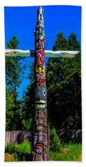 Colorful Totem Pole  Beach Towel