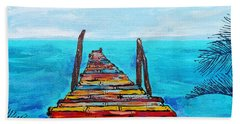 Colorful Tropical Pier Beach Towel
