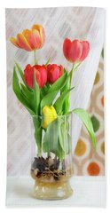 Colorful Tulips And Bulbs In Glass Vase Beach Towel