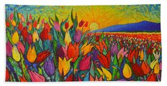 Colorful Tulips Field Sunrise - Abstract Impressionist Palette Knife Painting By Ana Maria Edulescu Beach Sheet by Ana Maria Edulescu