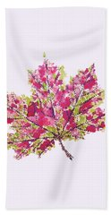 Colorful Watercolor Autumn Leaf Beach Towel