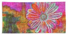 Colorful Watercolor Flower Beach Towel