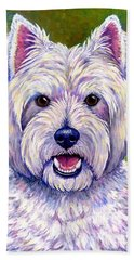 Colorful West Highland White Terrier Dog Beach Towel