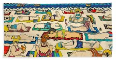 Colorful Whimsical Beach Seashore Women Men Beach Towel