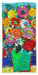 Colorful Wildflowers Abstract Modern Impressionist Palette Knife Oil Painting By Ana Maria Edulescu  Beach Towel