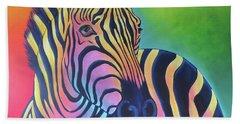 Colorful Zebra Beach Towel