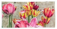 Colorfull Tulips Beach Towel