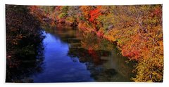 Colors Of Nature - Fall River Reflections 001 Beach Towel by George Bostian