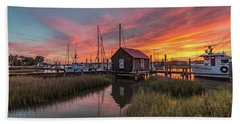 Beach Towel featuring the photograph Colors Of Shem Creek - Mt. Pleasant Sc by Donnie Whitaker