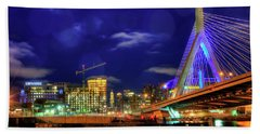 Beach Towel featuring the photograph Colors Of The Zakim Bridge - Boston, Ma by Joann Vitali