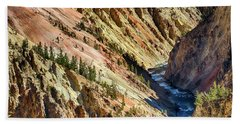 Colors Of Yellowstone Canyon Beach Towel by Shirley Mitchell