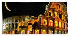 Colosseum Under The Moon Beach Towel