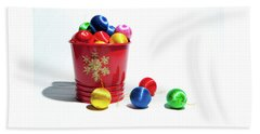 Coloured Baubles In A Pot Beach Towel
