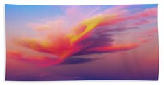 Coloured Feather Clouds Beach Sheet