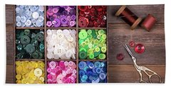 Colourful Buttons With Needle, Thread And Scissors Beach Sheet