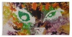 Colourful Cat Face Beach Sheet