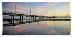 Colourful Cloud Reflections At The Pier Beach Sheet