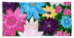 Beach Towel featuring the painting Colourful Flowers by Sonya Nancy Capling-Bacle