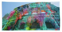 Beach Sheet featuring the mixed media Colourful Grungy Colosseum In Rome by Clare Bambers