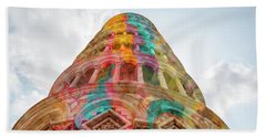 Beach Towel featuring the mixed media Colourful Leaning Tower Of Pisa by Clare Bambers
