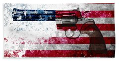 Colt Python 357 Mag On American Flag Beach Towel by M L C