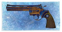 Colt Python 357 Mag On Blue Background. Beach Towel by M L C