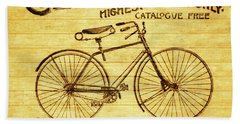 Beach Towel featuring the mixed media Columbia Bicycle Vintage Poster On Wood by Dan Sproul