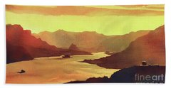 Beach Towel featuring the painting Columbia Gorge Scenery by Ryan Fox