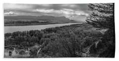 Columbia River Gorge Black And White  Beach Towel