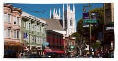 Columbus And Stockton In North Beach Beach Towel