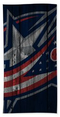 Columbus Blue Jackets Wood Fence Beach Towel