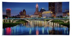 Beach Towel featuring the photograph Columbus Ohio Skyline At Night by Adam Romanowicz