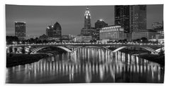 Beach Towel featuring the photograph Columbus Ohio Skyline At Night Black And White by Adam Romanowicz