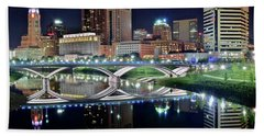 Columbus Over The Scioto Beach Towel by Frozen in Time Fine Art Photography
