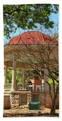 Comal County Gazebo In Main Plaza Beach Sheet by Judy Vincent
