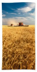 Combines Cutting Wheat Beach Towel