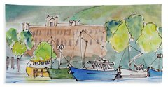 Fishing Boats In Hobart's Victoria Dock Beach Towel