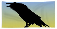 Common Raven Silhouette At Sunrise Beach Towel