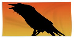 Common Raven Silhouette At Sunset Beach Towel