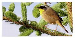 Beach Towel featuring the photograph Common Yellow-throat by Debbie Stahre
