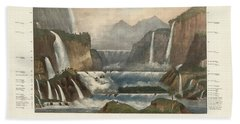 Comparative Illustration Of The Waterfalls In The World - Antique Illustrated Atlas Beach Towel