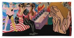 Beach Towel featuring the painting Complicity by Erika Chamberlin
