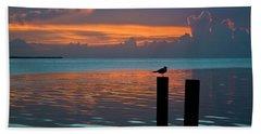 Conch Key Sunset Bird On Piling Beach Towel