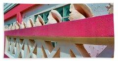 Conch Shells On A Pink Wall - Ambergris Caye, Belize Beach Sheet