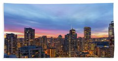 Condominium Buildings In Downtown Vancouver Bc At Sunrise Beach Towel